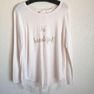 🆕 Lace trim knit top sweater
